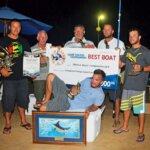Top Boat, Reelin & Dealing – Captain Adrian de Silva (far left), Top Angler Andy Ramnanan (front). Photo courtesy of Trinidad & Tobago Game Fishing Club