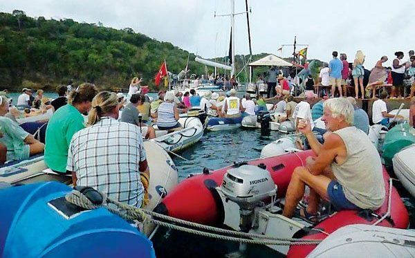 The dinghy concerts in Petite Calivigny Bay – bringing the sea and music together. Photo: Sharon Brown
