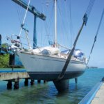 Journey is hauled out for the hurricane season. Photo: Monica Pisani