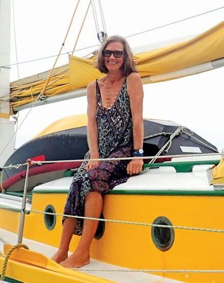 Shirley Carter and her little yellow Junk sailboat