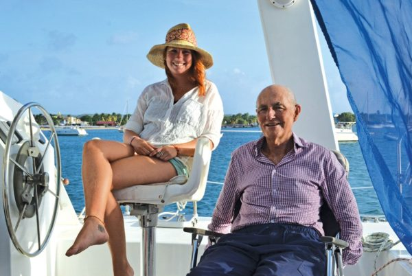 Lexi Fisher and Chris Doyle aboard Ti Kanot after a bike ride to Grand Bourg in Marie Galante. Photo: Jan Hein