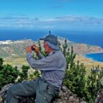 Photographing the view from atop The Quill, Statia. Photo: Lexi Fisher