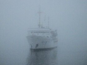 A ship hidden in the fog