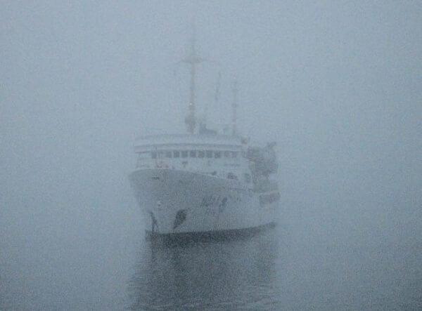 A ship hidden in the fog