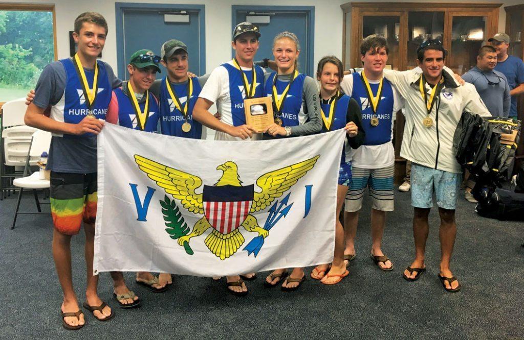 Antilles School Sailing Team (from left): Teddy Nicolosi, Robert Hunter, Ryan Hunter, Sam Morrell, Caroline Teare, Andy Williams, Chris Sharpless and coach Edgar Diminich. Photo: Ann Nicolosi