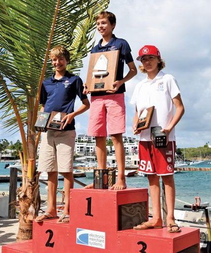 Top Three Sailors Overall, (left to right): Justin Callahan, Mitchell Callahan, Stephan Baker, at the Awards Ceremony at the St. Thomas Yacht Club. Photo: Dean Barnes