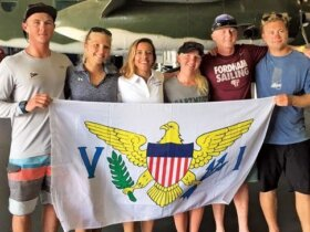 USVI High School & College Sailors (from left): Mack Bryan, Graceann Nicolosi, Nikki Barnes, Paige Clarke, Alec Tayler and Ian Barrows.