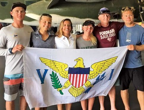 USVI High School & College Sailors(from left): Mack Bryan, Graceann Nicolosi, Nikki Barnes, Paige Clarke, Alec Tayler and Ian Barrows.