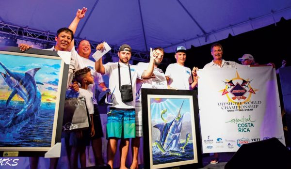 Marlin Division winners, Tahla'o from St. Barth, in the Antigua & Barbuda Sport Fishing Tournament. Famed marine artist Carey Chen (far left) and Dan Jacobs of the Offshore World Championships (far right). As top boat in the marlin division, Tahla'o received an invitation to the 2018 Offshore World Championship, fished next April in Costa Rica. Photo: Antigua & Barbuda Sport Fishing Club