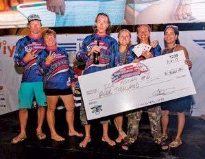 Winning team, Ice Mocha Fatty, and boat owner Andrea Tromben (second right). Photo courtesy of USVI Stars & StripesPokerRun