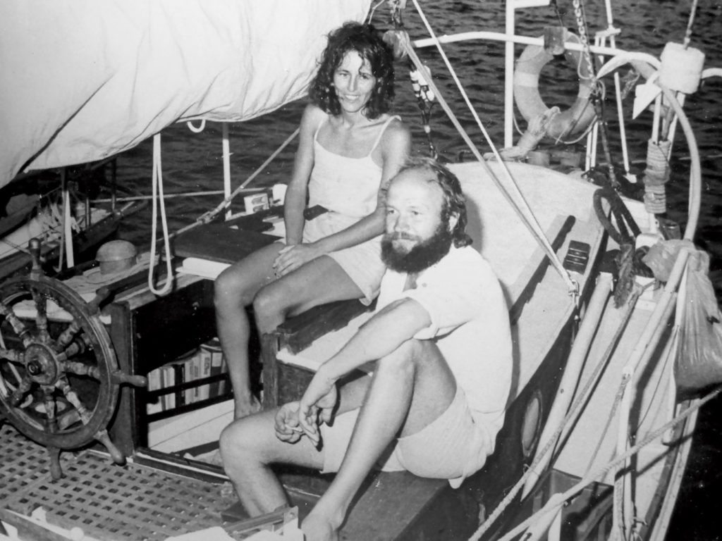 Thirty years ago and a lot of water under the keel … Stan and Cora aboard Ambler in Uruguay