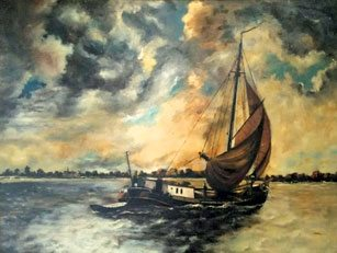 A painting of the 'clipper' owned by Lea's father
