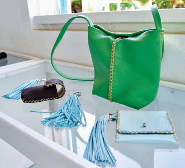 Bags, wallets, tassels in a rainbow of colors from Annalea Mills Leatherwork. Photo by Jan Hein
