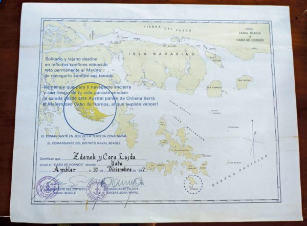 The certificate given to Stan and Cora by the Chilean Navy marking their rounding of Cape Horn