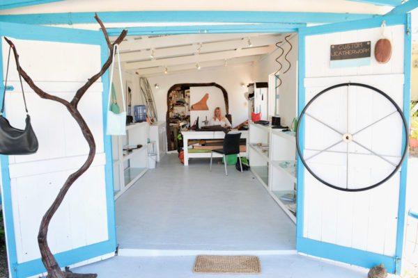 Annalea Mills Leatherwork's studio in Antigua. Photo by Jan Hein