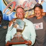 July Open Billfish Tournament Presentation (from left): Captain Spike Herbert; Chad Damron of Sodium, Top Angler and winner of the Captain Johnny Harms 'Give Him Line' trophy; Dr. Brian Biscoe, VIGFC Board Member, and Captain Red Bailey, past president and VIGFC board member. Photo: Dean Barnes