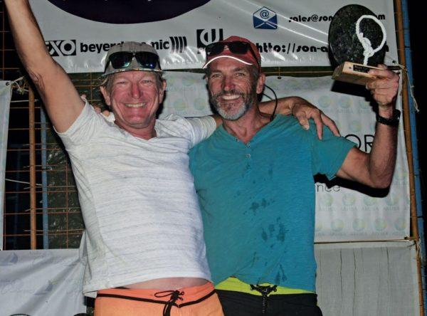 Aat Hoek (right) and crew Theo Kock, winners of Beach Cat class