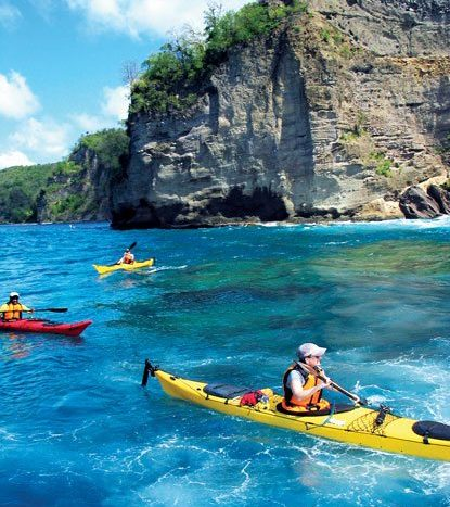 Kayaking in beautiful St. Lucia. Photo courtesy of St. Lucia Tourist Board