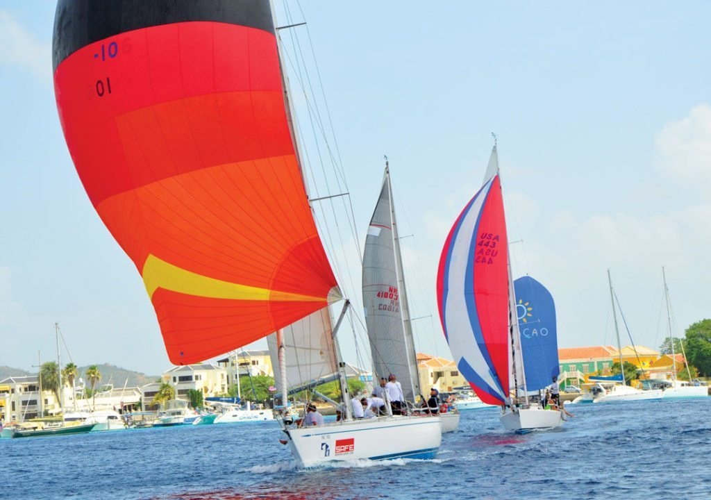 Overall winner Curacao Marine, followed by Vuja De, Dash and Kosa Loka in front of Kralendijk's waterfront. Photo by Els Kroon