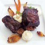 Chef Rebecca Silva's Winning Entrée – Coffee rubbed braised beef short ribs with a chili Virgin Islands roasted coffee barbecue sauce served with truffle garlic potato espuma and roasted seasoned vegetables