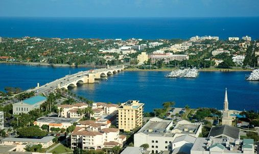 Aerial view of Downtown West Palm Beach. Discover the Palm Beaches