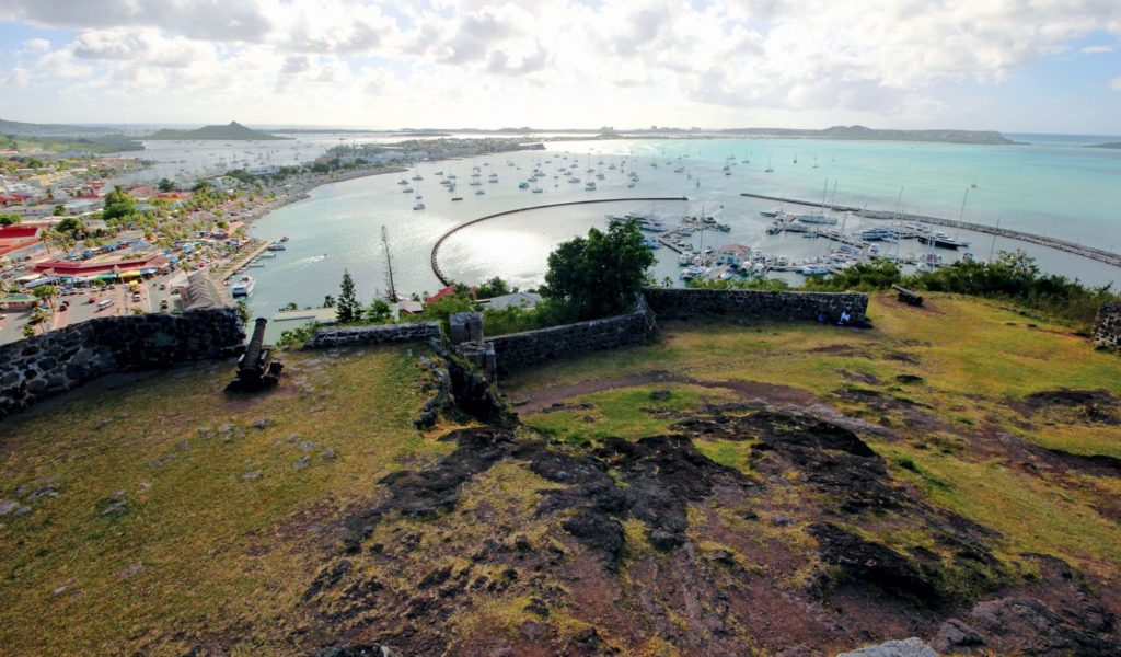 Marina Fort Louis, Marigot, French St. Martin. Simpson Bay Lagoon can be seen on the left. Photo: OceanMedia