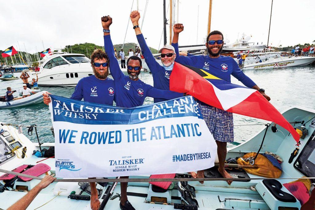 Team Antigua at the finish line of the Talisker Whisky (from left): Nico Pshoyos, Scott Potter, Eli Fuller & John Watt. Photos by Ben Duffy