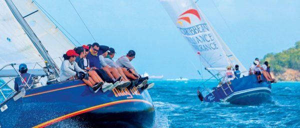Huey Too chases eventual class winners Caribbean Alliance Blue Peter. Photo: Henry Trembecki