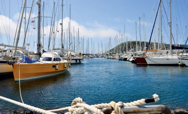 Horta's Marina fills up with visiting sailboats every summer. Photo by Tiago Redondo