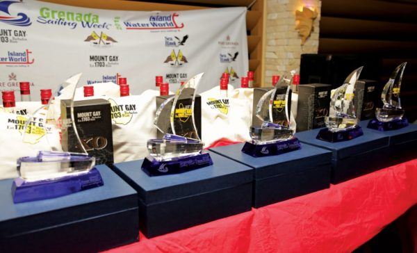 The handsome Mount Gay trophies ready to be presented to the winners. Photo: Tim Wright / courtesy of Grenada Sailing Week