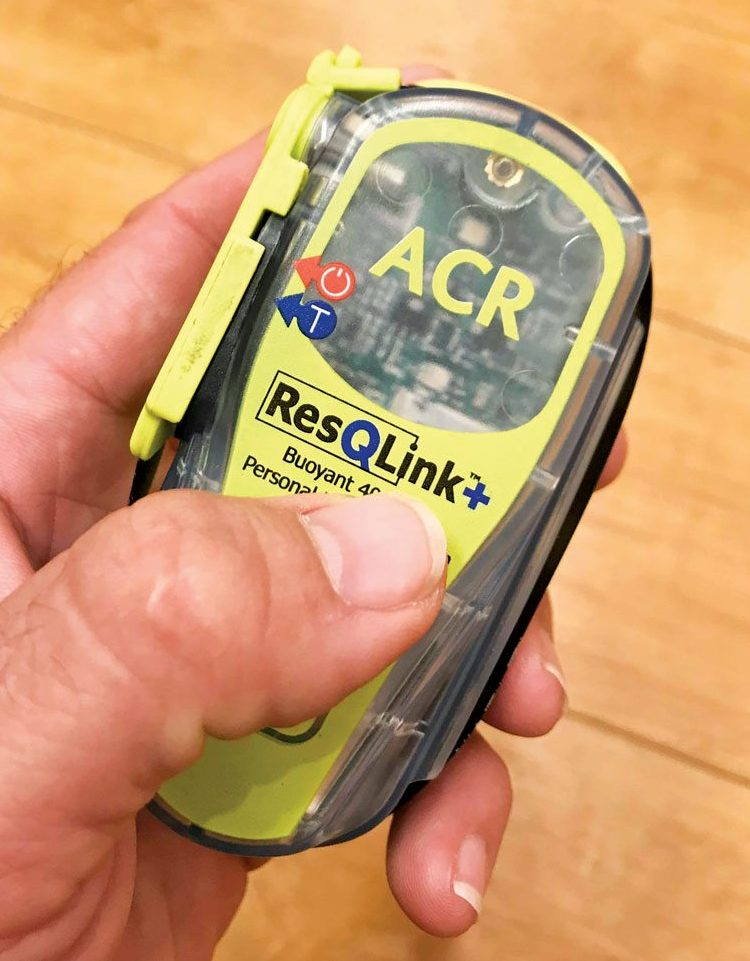 ACR's ultra-compact and floating ResQLink+ PLB. Photo: Glenn Hayes