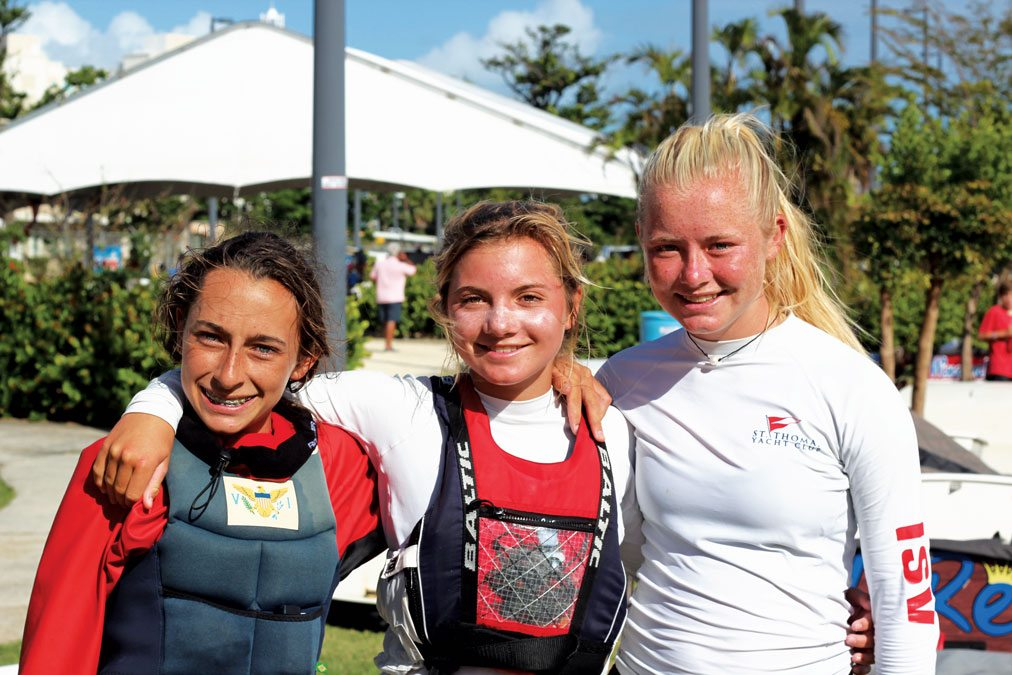Regatta winners Opti Advance Overall (from left): Caroline Sibilly and Winn and Katherine Majette