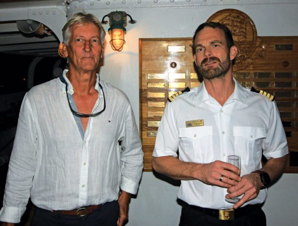Jan Roosens (left) and Captain Fridtjof Jungeling. Photo by Gary E. Brown