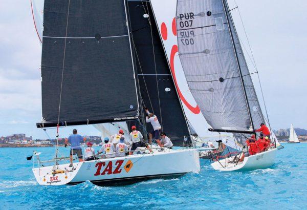 Sergio Sagramoso's Melges 32, Lazy Dog, leads Antigua's Taz away from the mark