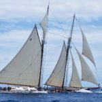 Near miss between schooner Columbia and Sweetheart. Photos by Jan Hein