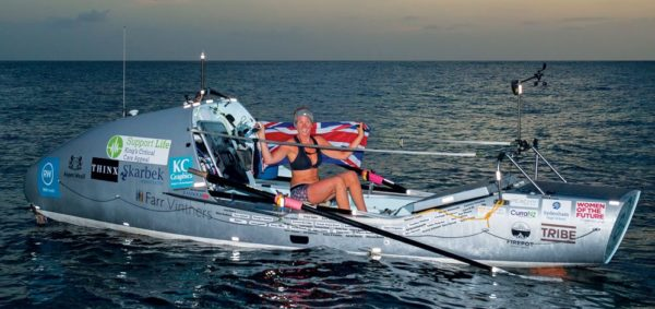 Kiko Matthews arriving in Barbados having smashed the World Record as the fastest woman to complete a solo trans-Atlantic row. Photo: Anthony Ball