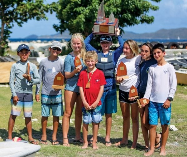 BVI Dinghy Championships – Winners all. Photo courtesy of RBVIYC/Leslie Cramer