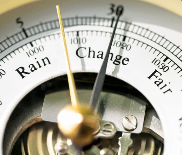 the humble barometer is often overlooked as a local weather forecasting tool.