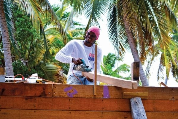 Cal Enoe during the construction of Free in St. Barths. Photo by Jan Hein