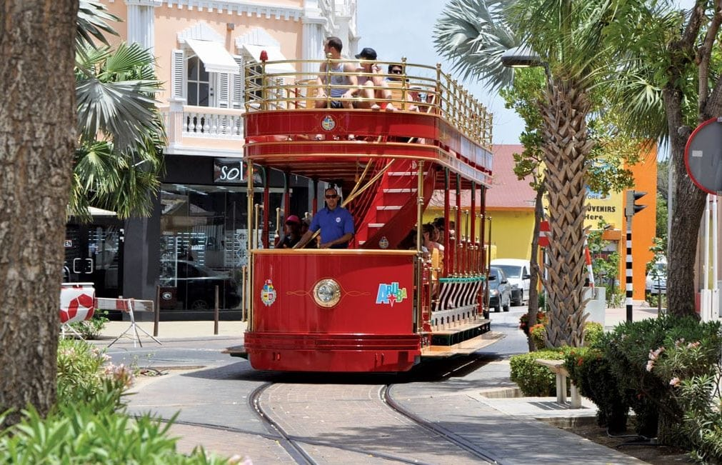 Aruba's free-to-ride San Francisco style streetcar, in service since 2013, is an attraction in itself. Photo by Els Kroon