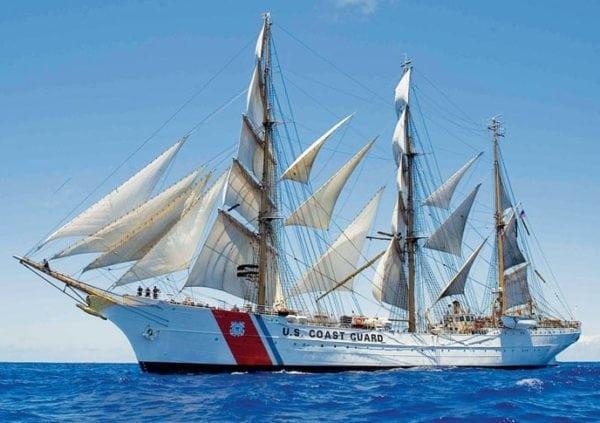 United States Coast Guard CutterEagleunder full sail in the Caribbean Sea. Photo courtesy of the U.S. Coast Guard