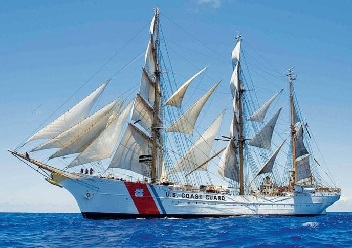 United States Coast Guard Cutter Eagle under full sail in the Caribbean Sea. Photo courtesy of the U.S. Coast Guard