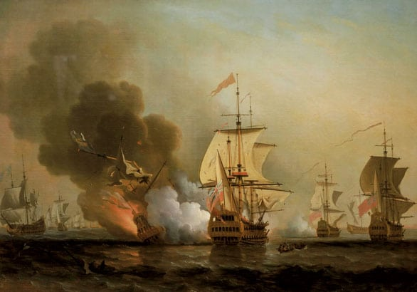 The Naval battle off Cartagena, 28 May 1708. The San Jose, which carried most of the Spanish treasure, was destroyed by an explosion in her powder magazine. The painting, by Samuel Scott (1702-1772), is in the National Maritime Museum, Greenwich, England.