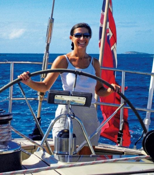 Lynn Griffiths at the helm of Pacific Wave