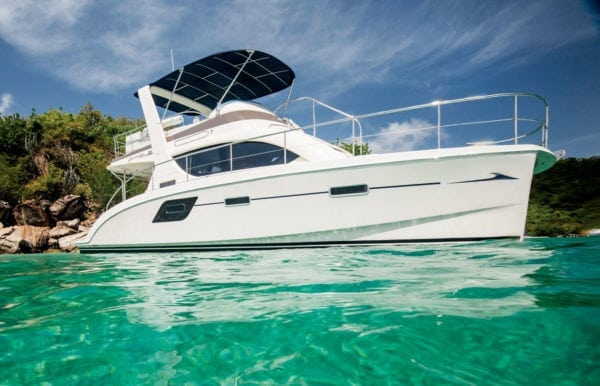 Motor catamaran in the beautiful waters of the British Virgin Islands. Photo courtesy of MarineMax