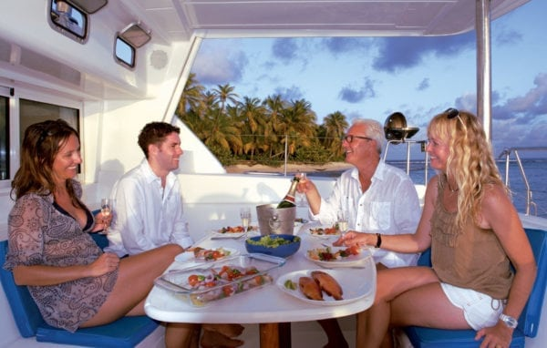 Fine dining is all part of the charter experience. Photo courtesy of Horizon Yachts
