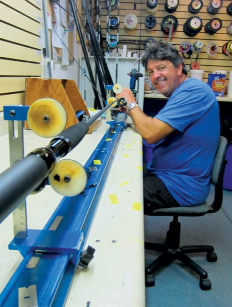 Capt. Randy Towe makes fine custom rods to anglers' specifications. Photo By Jill Zima Borski