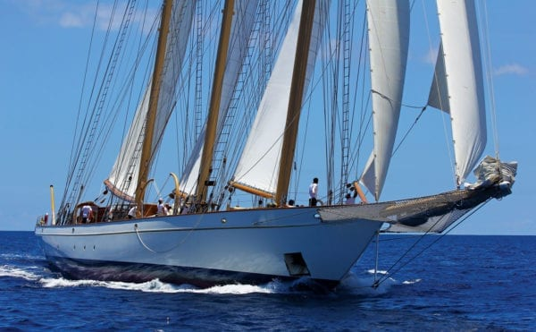 A three-masted schooner on a close reach with sails slightly eased. Photo: OceanMedia