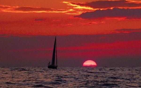 Karina sails into the setting sun
