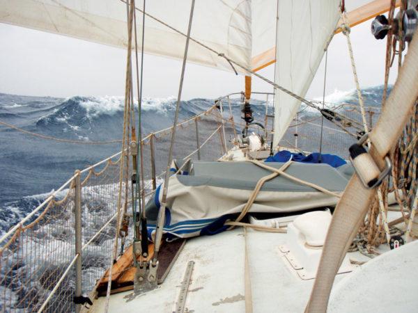 Rushing along under twin Genoas. Photo by world cruiser Birgit Hackl